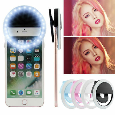 Rechargeable Selfie Portable LED Ring Fill Light Camera for iPhone X 8 7 Samsung