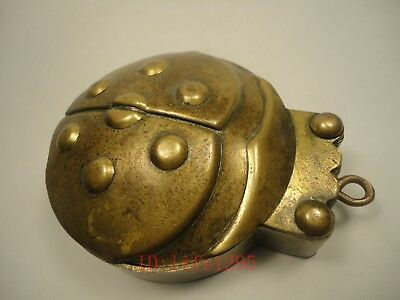 Collection Old China Copper Handmade Ladybird Shape Folding ink Cartridge Box