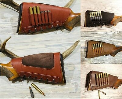 Leather Rifle Buttstock Cover Butt Stock Holder Cheek Rest - Real Suede Padded