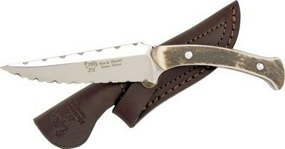 Hen & Rooster HR-5014 Stag Bone Handle Fixed Blade Knife w/ Mirror Clip