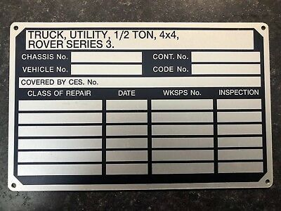 AIRPORTABLE Military Land Rover GS 88 LIGHTWEIGHT 1/2 Ton Data Plate Nos