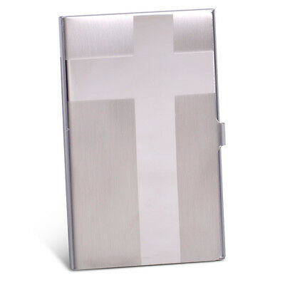 Pocket Name Credit ID Business Card Holder Metal Case Box Cross Stainless Steel