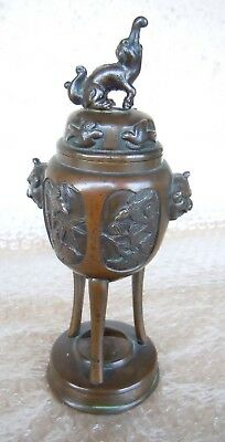 RARE ANCIEN STATUE Bronze brûle parfum asie Incense Burner Antique Asian Urn