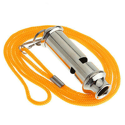 Emergency Stainless Steel Whistle with Lanyard For Police Bobby Judge Security