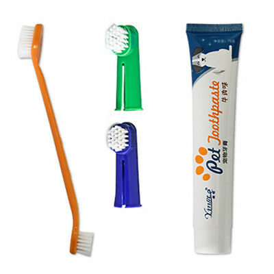 Pet Dog Cat Toothbrush and Toothpaste Teeth Cleaning Set 4 Piece Teeth Oral Care