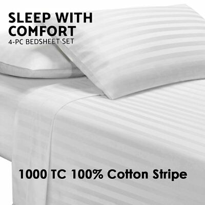 1000TC Ultra Soft 4 Pc Flat & Fitted Bed Sheet Set Pillowcases Stripe Queen/King