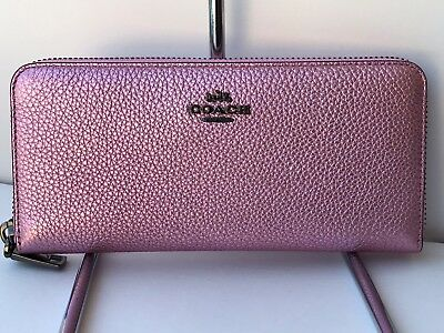 Coach 23554 Accordion Zip Wallet in Metallic Blush Pink Leather With Gift Box!