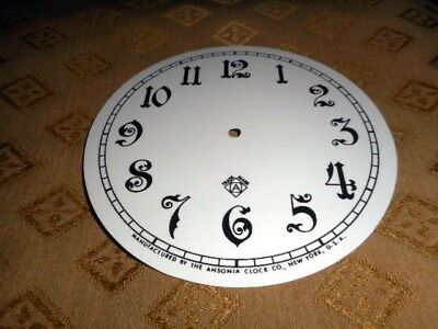 For American Clocks-Ansonia Paper Clock Dial-125mm M/T-Arabic-GLOSS WHITE-Spares