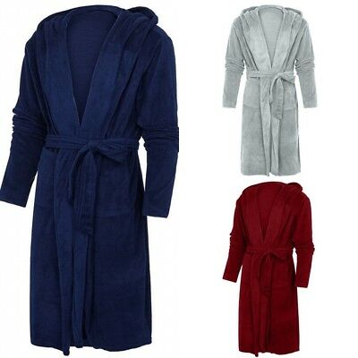 Women Lady Warm Thick Hooded Coral Fleece Bath Robe Dressing Gown Wrap Housecoat