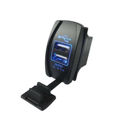 3.1A 12-24V Waterproof Dual LED USB Car Auto Power Supply Charger Port Socket