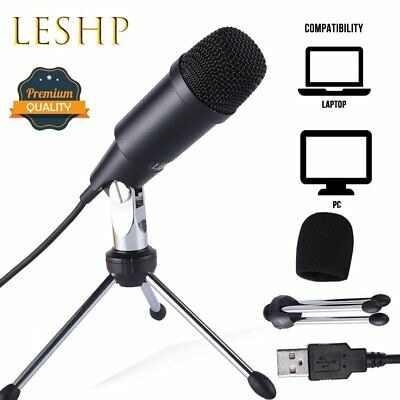 LESHP USB Condenser Microphone Sound Recording Audio Studio with Tripod Stand DG