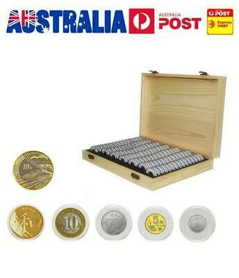AU! 100X Coin Holder Wooden Container Storage Box Display Case 18/21/25/27/30 MM