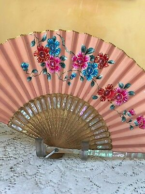 Vintage Fan MOTHER OF PEARL Inlay Bamboo SILK Painted with Floral Design JAPAN
