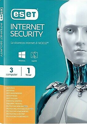 Eset Internet Security 2019 3 Devices / Pc 1 Year  Genuine - Email Delivery- Esd