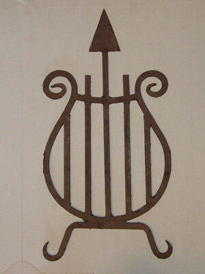 Antique Architectural Salvage, Steampunk, Wrought Iron Harp W/ Arrow,  Wall Art