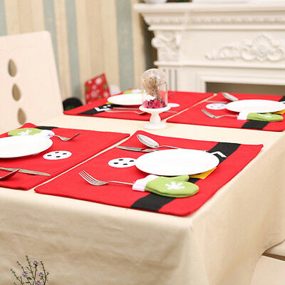 Christmas Table Mats With Snow Gloves Bag Home Tableware Napkins Cloth N7