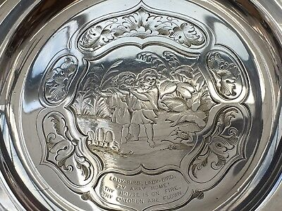 Victorian Silver Plated Children's Nursery Rhyme Plate By Hawksworth, Eyre & Co