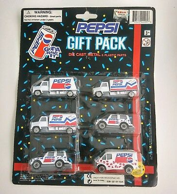 6 Collectible PEPSI COLA Delivery Trucks Cars Die Cast Metal Vintage 1994 NOS