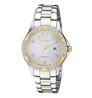 Citizen Eco-Drive Elektra Women's Diamond Accents Two-Tone 32mm Watch EW2514-59D
