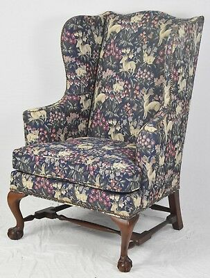 BAKER Mahogany Chippendale Wing Back Arm Chair Claw & Ball Williamsburg Style