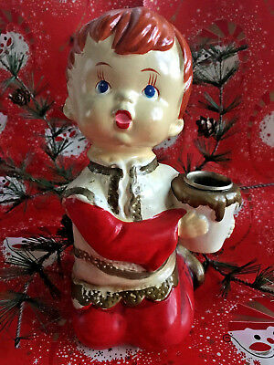 VTG Paper Mache Christmas Choir Boy Candle Holder Holiday Hand Painted Japan