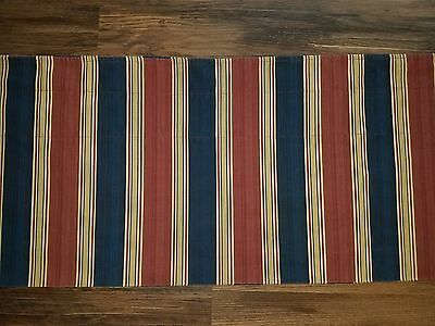 """1 Waverly valance burgundy tan navy striped 78"""" wide by 16"""" long"""