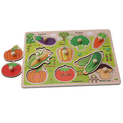 Cartoon Wooden Puzzle Educational Toy Hand Grab Board Children Toy Gift N7