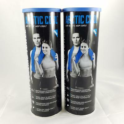 2x Arctic Cool Instant Cooling Ultra-light Mesh Workout Towels - Blue 12x33 Inch