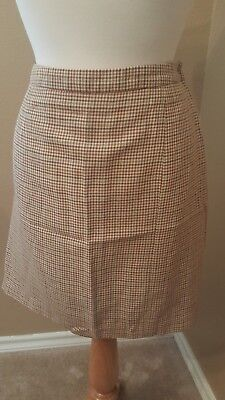 06b762fe77 Ann Taylor Women's Linen Rayon Pencil Career Skirt Brown Plaid Size 14