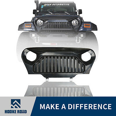 Matte Black Angry Bird Front Grille w/ Mesh Inserts For Jeep Wrangler TJ 97-06