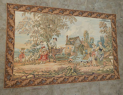 Vintage French Beautiful Pastoral Scene Tapestry 130x84cm (A493)