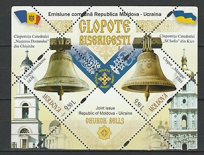 Moldova 2018 Church Bells, joint issue Ukraine MNH Block