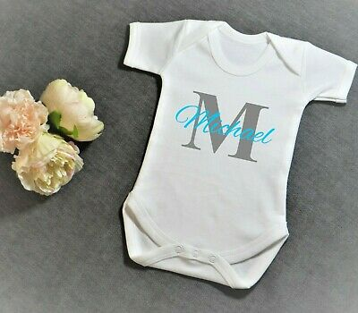 Personalised Baby Grow Vest Shower Gifts Girl Boy Any Name White Sleepsuit