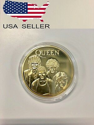 QUEEN Bohemian Rhapsody challenge coin Freddie Mercury Souvenir ROCK BAND + CASE