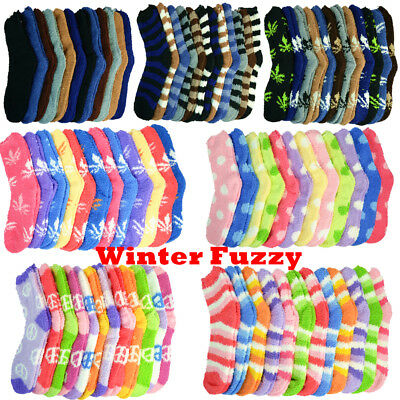 3-10 Pairs For Mens Womens Soft Cozy Fuzzy Socks Home Warm Slipper Size 9-13 Lot