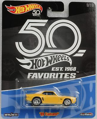 Hot Wheels 50th anniversary Favorites Real Riders 69 Camaro 1:64 Hot Wheels