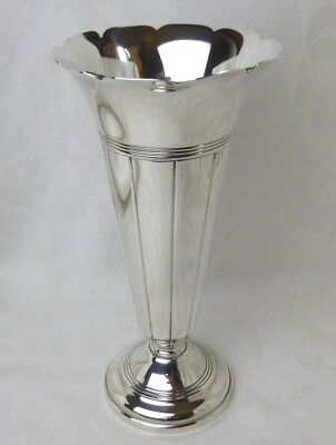 Gorham sterling silver ribbed trumpet vase large 10 inches 1942
