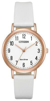 Citizen Eco-Drive Women's Chandler Rose Gold Accent White 30mm Watch EM0573-02A