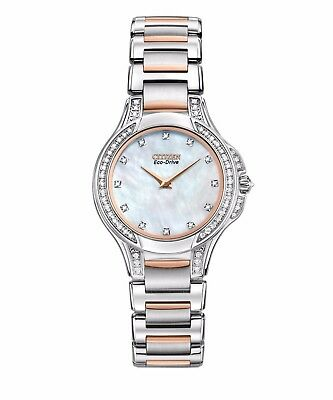 Citizen Eco-Drive Women's Diamond Accents Two Tone 30mm Watch EX1166-52D