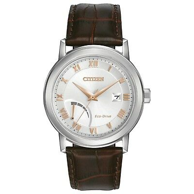 Citizen Eco-Drive Men's Rose Gold Accents Silver-Tone Dial 41mm Watch AW7020-00A