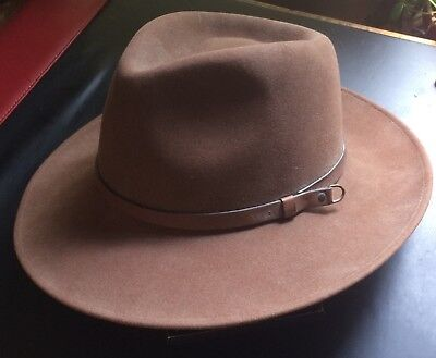 0f7600831 VINTAGE BORSALINO 7 3/8 Brown Felt Fedora w/Leather Trim