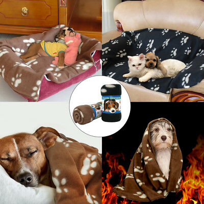 Fleece Pet Blankets for Dogs Pawprint Cozy for Couch Cat Doggie Bed Blankets