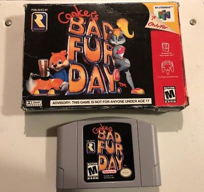CONKER'S BAD FUR DAY Boxed  2001 Nintendo 64 Cart In Great Shape