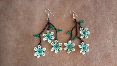 Hand Crafted Mexican Long Flower Huichol Earrings- NEW
