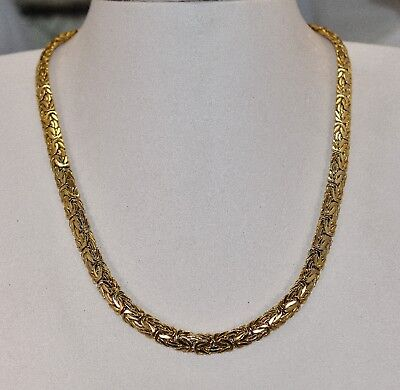 10 K Yellow Gold 6.5 mm Hollow Byzantine Necklace 17 inch 18 grams
