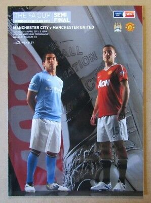 2011  Manchester City v Manchester United  FA Cup Semi Final Programme  16/04/11