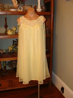 """Ladies/Womens Vintage Warners Short Chiffon Nightgown - Bust to 40"""" - Yellow"""