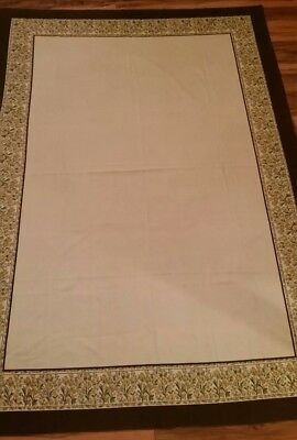 "Vintage Brown Border White/Ivory Tablecloth w Yellow Flowers 58""x82"" Rectangular"