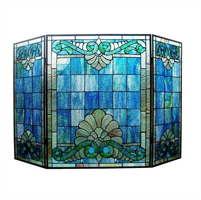 "Stained Glass Fireplace Screen Victorian Design Tiffany Style 28""H"