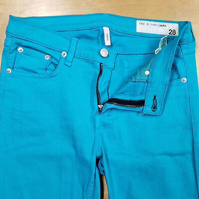 7a5c1d4f0ad5 Rag & Bone The Skinny Turquoise Bluebird Stretch Cotton Tencel 5 Pkt Jeans  sz 28